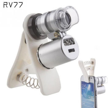 High Quality Universal Clip 60X Microscope Magnifying glass with LED UV Lights for iPhone Sumgung Universal Smart Phones