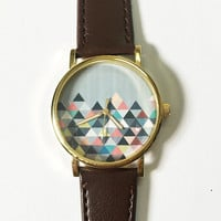 Pastel Geometric Mountain  , Vintage Style Leather Watch, Women Watches, Unisex Watch, Boyfriend Watch, Men's Watch, Ladies Watch