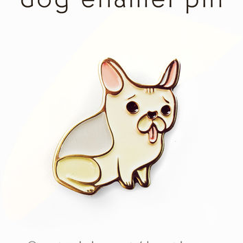 French Bulldog Pin - Frenchie Enamel Pin - Dog Enamel Pin by boygirlparty