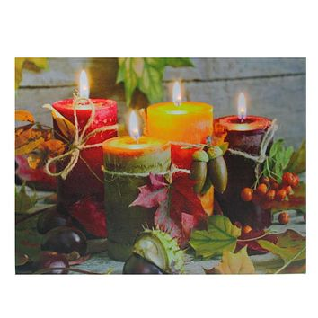 """LED Lighted Bountiful Autumn Harvest Thanksgiving Canvas Wall Art 12"""" x 15.75"""""""
