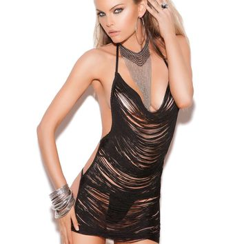 Fringe mini dress  Black One Size
