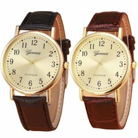 Women And Men Fashion Watch Golden Classical Dial Leather Analog Quartz Watches