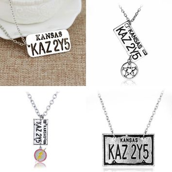 Movie Supernatural Necklace Pendant KANSAS KAZ 2Y5 Letter Logo Pendant For Lover Castiel Wings Angel Wicca Jewelry Drop shipping