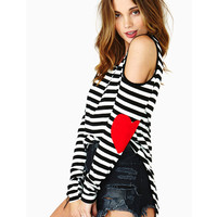 Black and White Stripes Heart Pattern Elbow Long Sleeve T-Shirt
