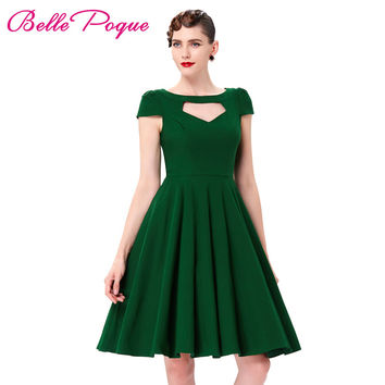 Short Sleeve Pin Up Big Swing 50s Dress Summer Vintage Green Red Black Hollowed Front Knee Length Retro Casual Rockabilly Dress