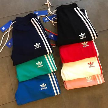 Adidas Casual Stripe Drawstring Man Women Sport Running Long Pants Sweatpants Trousers Six Color H-XYCL01-3