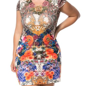 Streetstyle  Casual V-Neck Embroidery Plus Size Bodycon Dress In Floral Printed