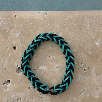 Fishtail Rainbow Loom Bracelet Black and Turquoise With Optional ADD ON Charm Football Soccer Baseball Basketball Cheer Tennis  Yoga