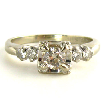 Vintage Illusion Set 1/3rd Carat VS Diamond Ring