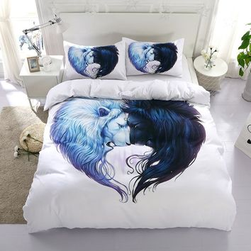 3D lion animal design twin king queen double bedclothes pillowcase bedspread duvet cover set bedding set