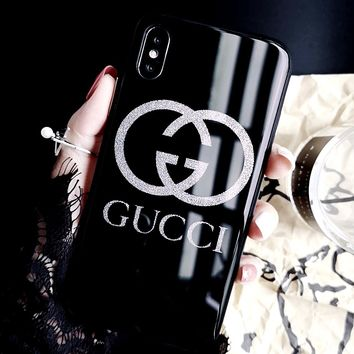 GUCCI women's glass luxury iphone7/8 plus personality all-inclusive mobile phone shell black