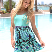 Aqua Multi Color Short Dress