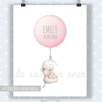 Baby Elephant Print, Baby room wall art, Pastel nursery decor, Pink, Custom name gift, Girl nursery art