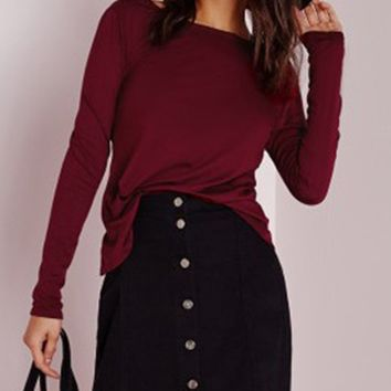 Streetstyle  Casual Boat Neck Lace-Up Plain Long Sleeve T-Shirt