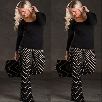 Summer Women Pant Clothing Loose High Waist Wide Leg Pants Wave Print Cropped Trousers Culottes Palazzo Casual Woman Pants