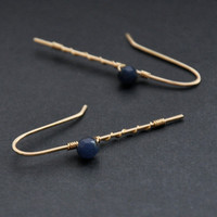Sapphire Blue Earrings, Jade Navy Gemstone, Gold Wire Jewelry