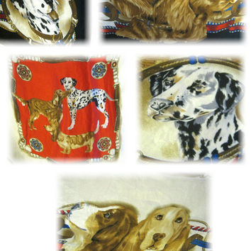 "Dog Breed Scarf, Silk Scarf, Bill Blass Silk Scarf, Canine Scarf, Dalmation Beagle Setter Vintage Scarf, Large Scarf, 34"" Square Head Scarf"