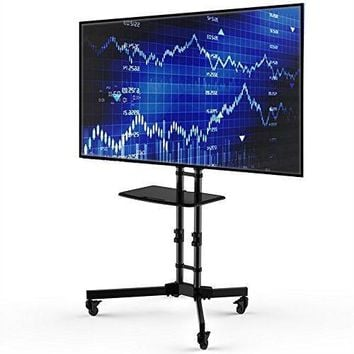 Adjustable Height Mobile TV Cart TV Stand For Up To 65 Inch TV