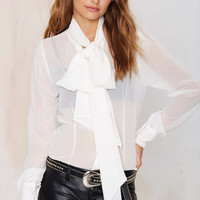 Bow Tie Neck Long-Sleeve Chiffon Shirt