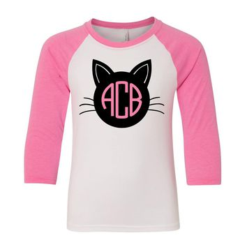 Black Cat Halloween Raglan Tee Shirt with Monogram