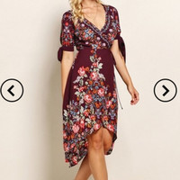 Maroon Print Wrap Dress