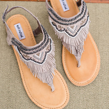 The Dancing Gypsy Embellished Suede Fringe Sandals In Taupe