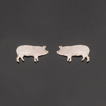Sterling silver pig earrings. Small pig studs. Silver pig posts. Pig silhouette earrings. Pig studs. Boho jewelry. Pig totem. Power animal.