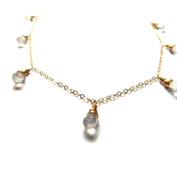 Simple Drop Necklace, Moonstone and Gold Fill