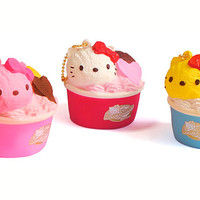 Sanrio Hello Kitty Squishy Lovely Sweets Series Ice Cream Cup Ball Chain