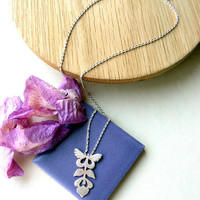 Sterling silver Necklace Folk flower and butterfly.