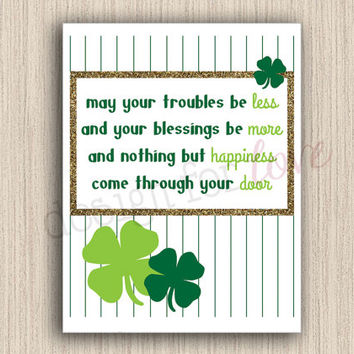 St. Patrick's Day Blessings - Printable File - Spring Decor