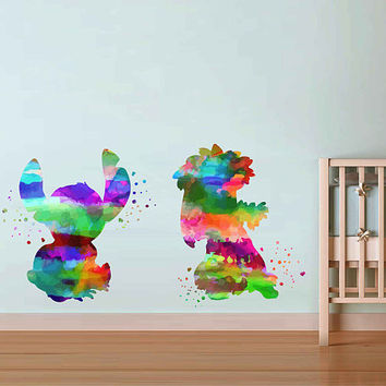 kcik2077 Full Color Wall decal Watercolor Lilo & Stitch Character Disney Sticker Disney children's room