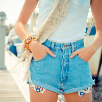 American flag peek-a-boo pockets and Pack pocket studded shorts