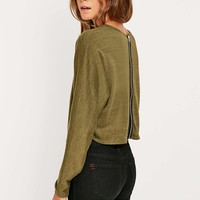 Sparkle & Fade Zip Back Top - Urban Outfitters