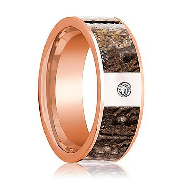 KRON Brown Dinosaur Bone Inlaid Men's Flat 14k Rose Gold Wedding Band with Diamond in Center - 8MM