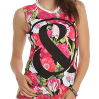 Of Mice & Men Pink Floral Muscle Girls Top