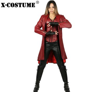 Cool Attack on Titan X-COSTUME Red PU Suit Captain America Civil War Scarlet Witch Costume Scarlet Witch Costume Anime Cospaly  AT_90_11