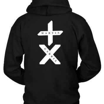 MDIG1GW Martin Garrix Title With Logo White Hoodie Two Sided