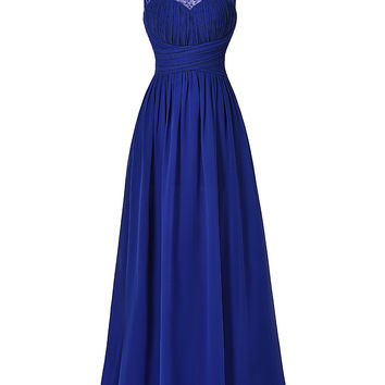 Elegant Long Royal Blue Prom Dress 2017 Sexy Sleeveless V Back Wedding Party Dress Beaded Chiffon Ombre Maxi Dress Prom Gowns