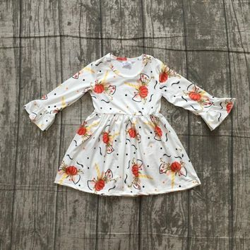 new Halloween Fall/winter cotton milk silk baby girls kids wear boutique children clothes cotton dress unicorn pumpkin ruffles