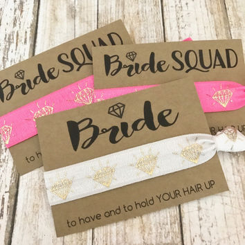 Bride SQUAD | Bachelorette Party Favor | Hair Tie Favor | Bridesmaid Gift | MOH - Goody Bag Survival Kit - To Have and To Hold