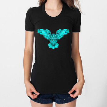 Owl art Cyan ink color by dreambigzz printed on Black or navy Women tee