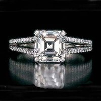 Engagement Ring - Asscher Square Cut Diamond Split Band Engagement Ring Setting 0.64 tcw. In 14K white gold - ES26AC