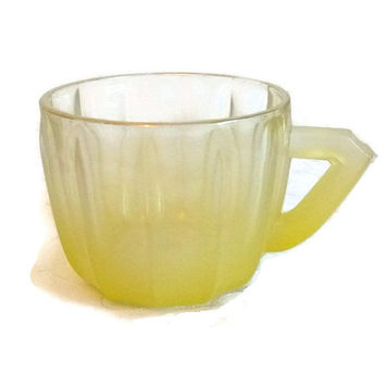 50s Yellow Blendo Frosted Glass Cup, Punch Bowl Cup Mug, Juice Glass Dish, Collectible Housewares, Mid Century Dining & Entertaining