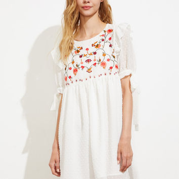 Embroidered Yoke Tie Sleeve Dot Jacquard Babydoll Dress | MakeMeChic.COM