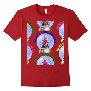 Merry Christmas 2017 Snowglobe Ugly Christmas Sweater Trees