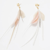 NEW Feather Earrings. Gold Flower Stud Blush Pink and White Natural Feather Earrings. Long White Stripe Dangle Earrings. Spring Fashion SS17