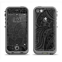 The Dark Gray & Black Paisley Apple iPhone 5c LifeProof Fre Case Skin Set