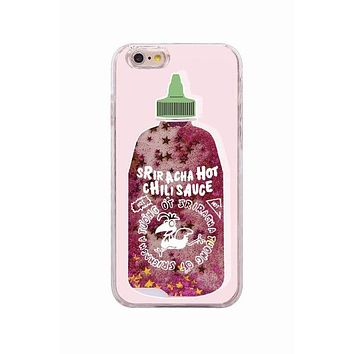 Sriracha chili sauce liquid glitter iPhone case