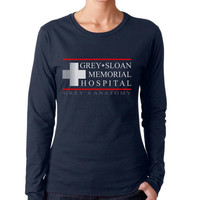 Grey Sloan Memorial Hospital on Longsleeve Women tee (G4400L Gildan Junior Fit Soft Style)